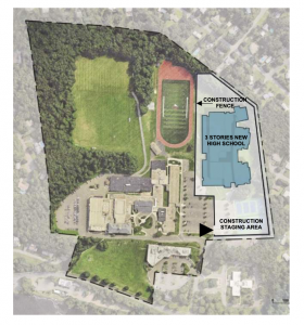 Overhead view of site showing marked construction zone and fencing – image on page 55 of Schematic Design Report Appendices
